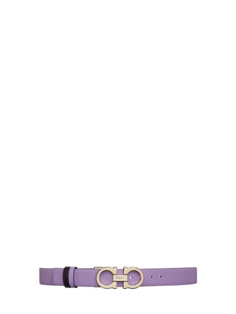 SALVATORE FERRAGAMO 25mm Reversible Leather Belt in purple