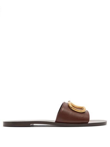 Valentino - Go Logo Leather Slides - Womens - Brown