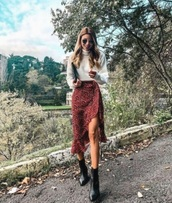 skirt,red skirt,wrap ruffle skirt