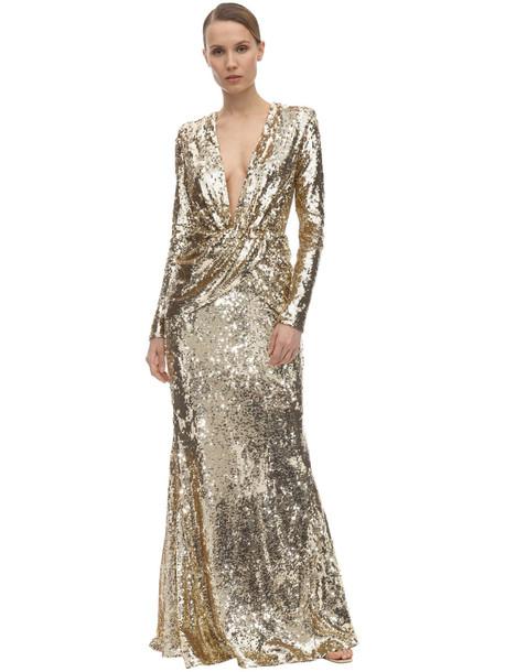 AMEN BLACK Long Sequin Embellished Dress in gold