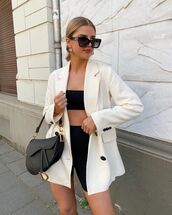 jacket,white blazer,double breasted,black shorts,black top,dior bag