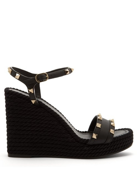 Valentino - Torchon Rockstud Leather Wedge Sandals - Womens - Black