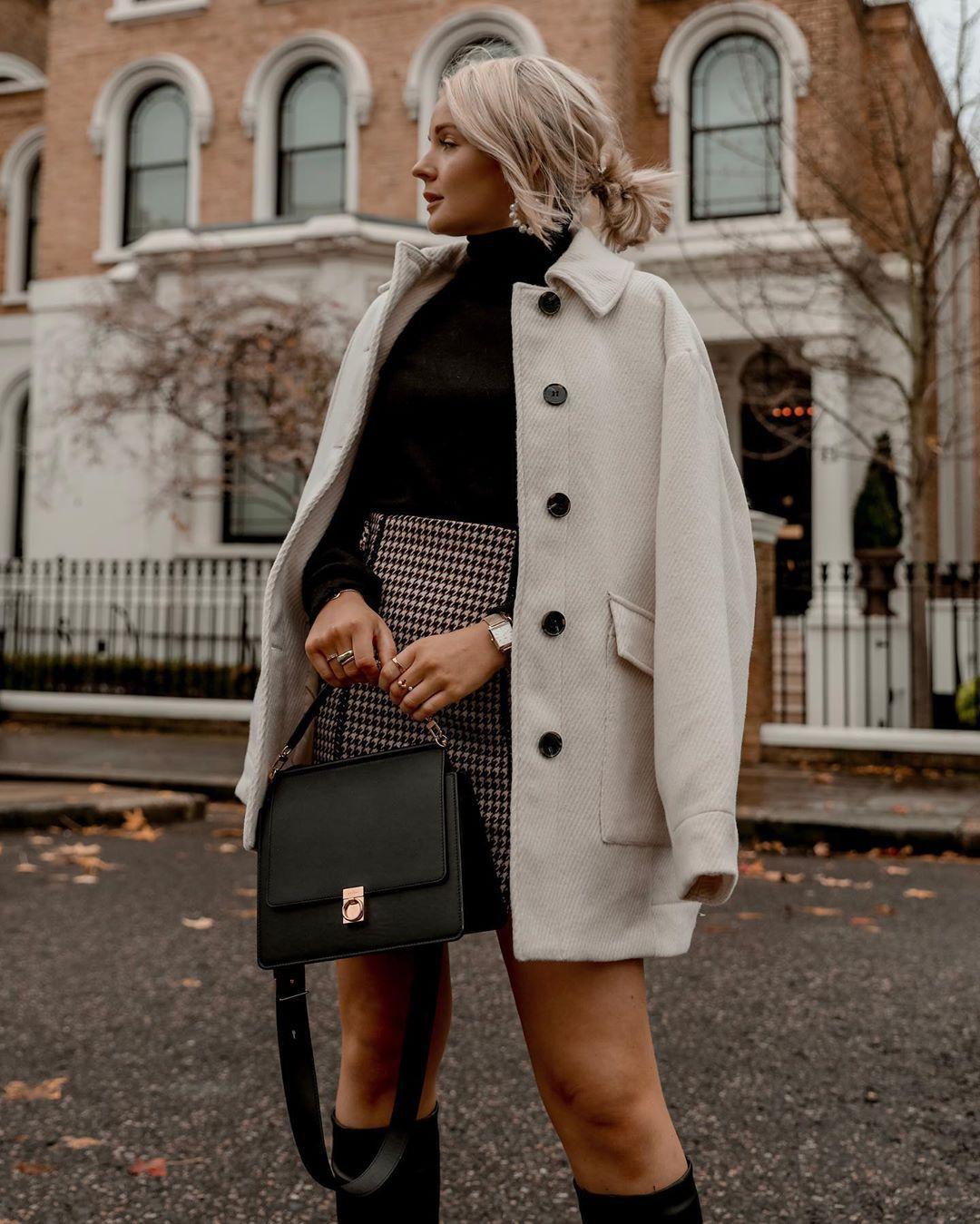jacket oversized jacket black boots knee high boots plaid skirt black bag black turtleneck top