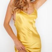 dress,yellow,satin,slit,slip dress,party dress,cocktail dress