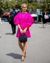 dress,mini dress,pink dress,long sleeves,black sandals,black bag
