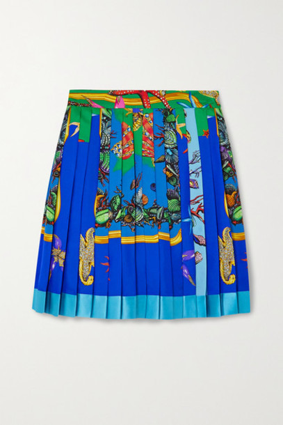 Versace - Pleated Printed Silk-twill Mini Skirt - Blue