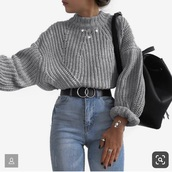 sweater,shirt,grey,knit,warm,cozy,comphy,oversized sweater,winter outfits,winter sweater,fall outfits,fall sweater,belt,black,black belt,silver,silver belt,circle embellishment