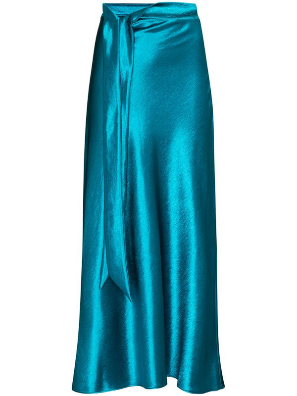 Collina Strada ribbon detail satin midi skirt in blue