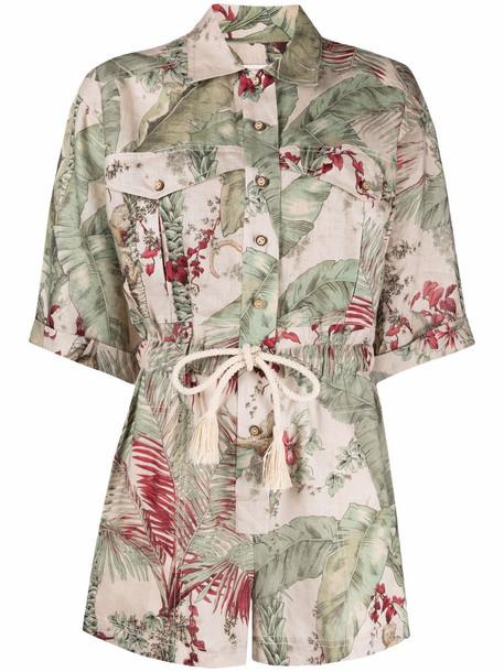 Zimmermann leaf-print short-sleeve playsuit - Green