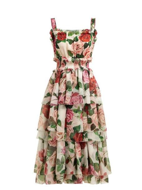 Dolce & Gabbana - Rose Print Tiered Silk Chiffon Midi Dress - Womens - White Multi