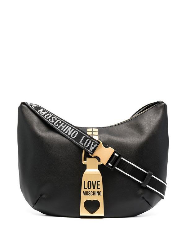 Love Moschino logo strap hardware detail shoulder bag in black