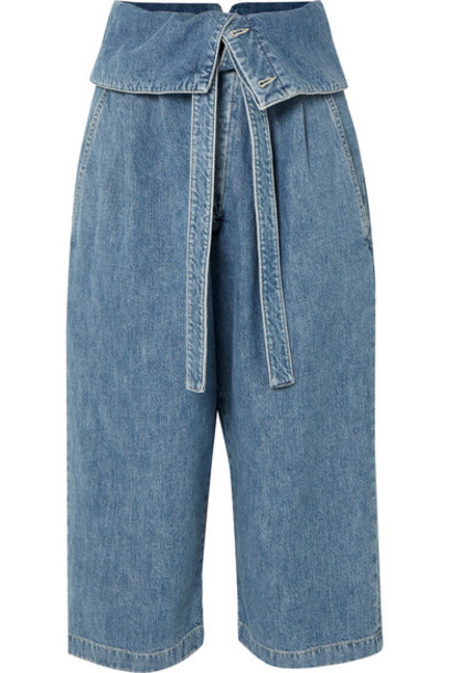 Loewe - Cropped Belted High-rise Wide-leg Jeans - Blue