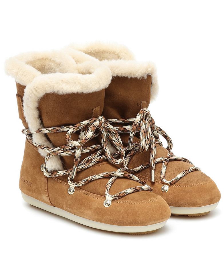 Moon Boot Dark Side shearling and suede boots in brown
