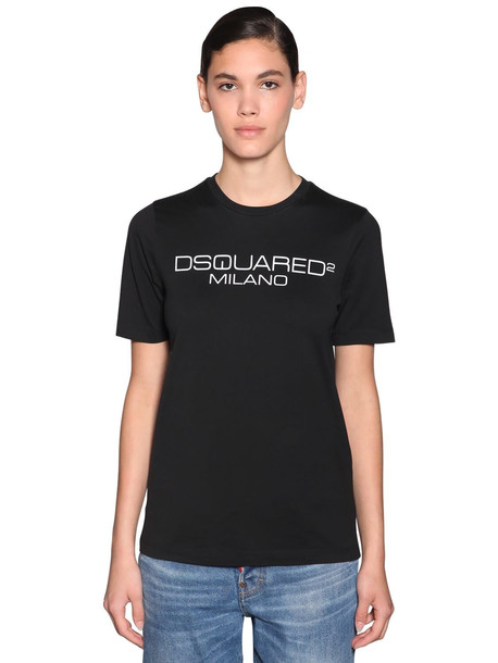 DSQUARED2 Logo Printed Cotton Jersey T-shirt in black