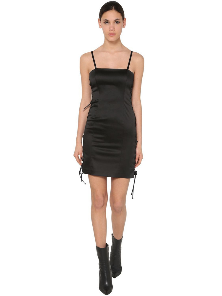 UNRAVEL Satin Laced Up Mini Dress in black