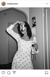 dress,white,black,polka dots
