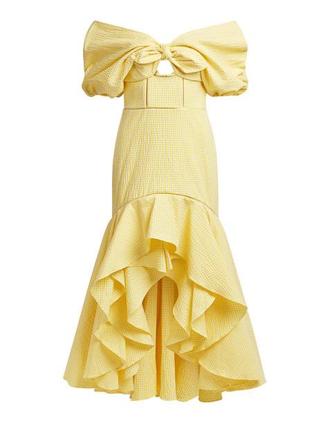 Jonathan Simkhai Off-the-shoulder Gingham Seersucker High-low Dress Yellow Plaid