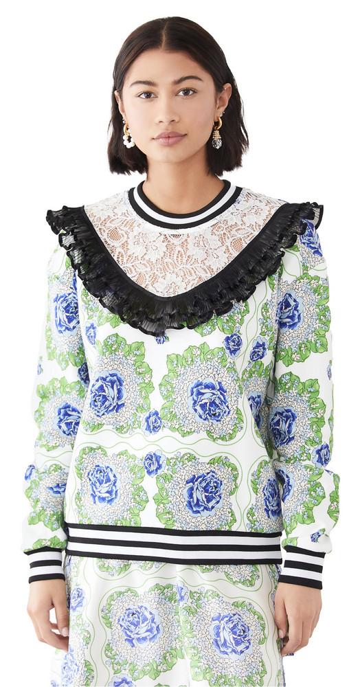 Rodarte Floral Printed Sweatshirt in blue / green