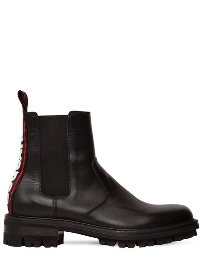 DSQUARED2 Leather Chelsea Boots W/ Logo Tape Black