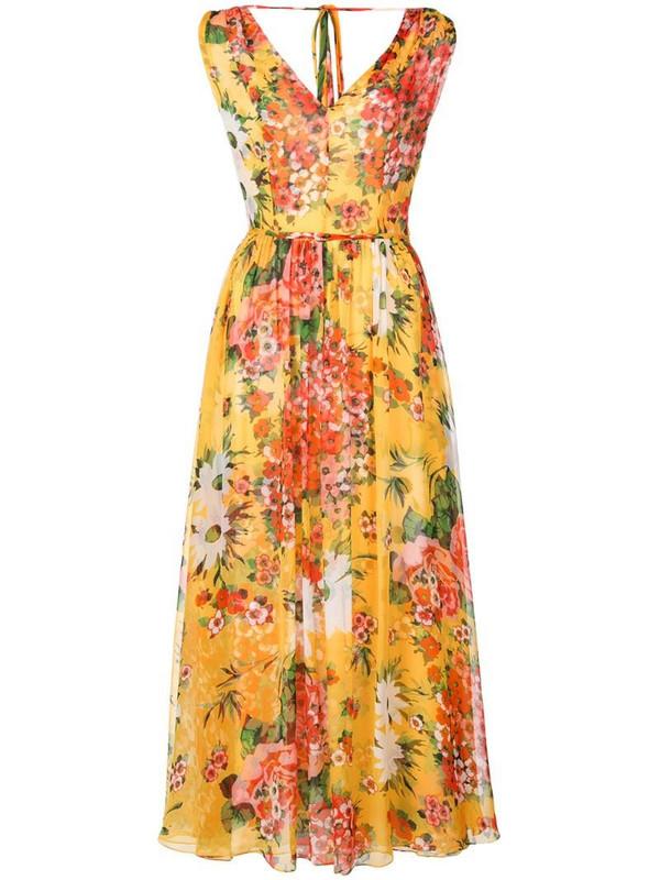 Carolina Herrera floral print dress in yellow