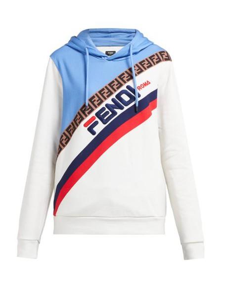Fendi - Mania Logo Embroidered Hooded Sweatshirt - Womens - Cream Multi