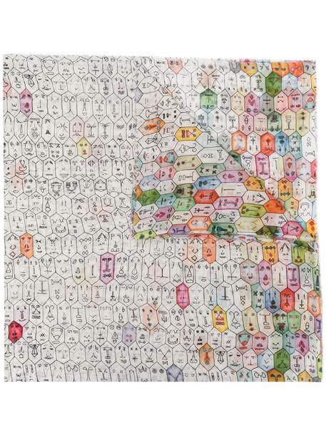 Faliero Sarti abstract-pattern print cotton scarf in white