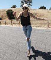 jeans,ripped jeans,levi's,sandal heels,tank top,hat