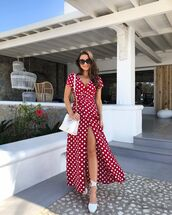 dress,wrap dress,polka dots,short sleeve dress,maxi dress,white shoes,white bag,red dress