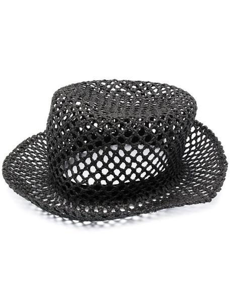 Fabiana Filippi perforated woven hat in black