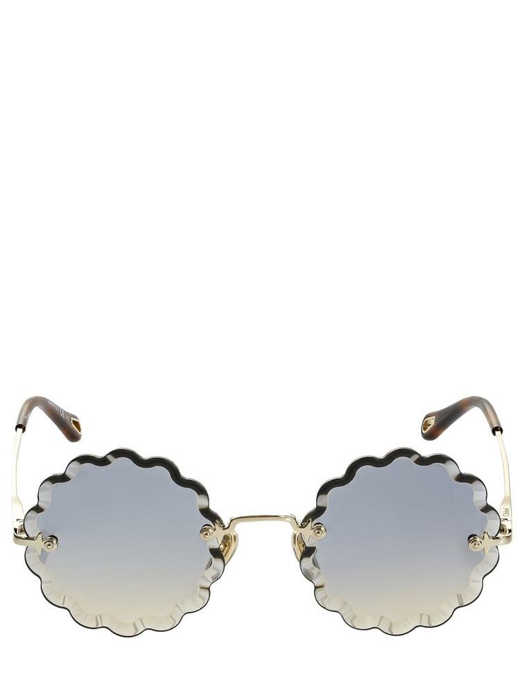 CHLOÉ Rosie Petite Round Wavy Metal Sunglasses in gold