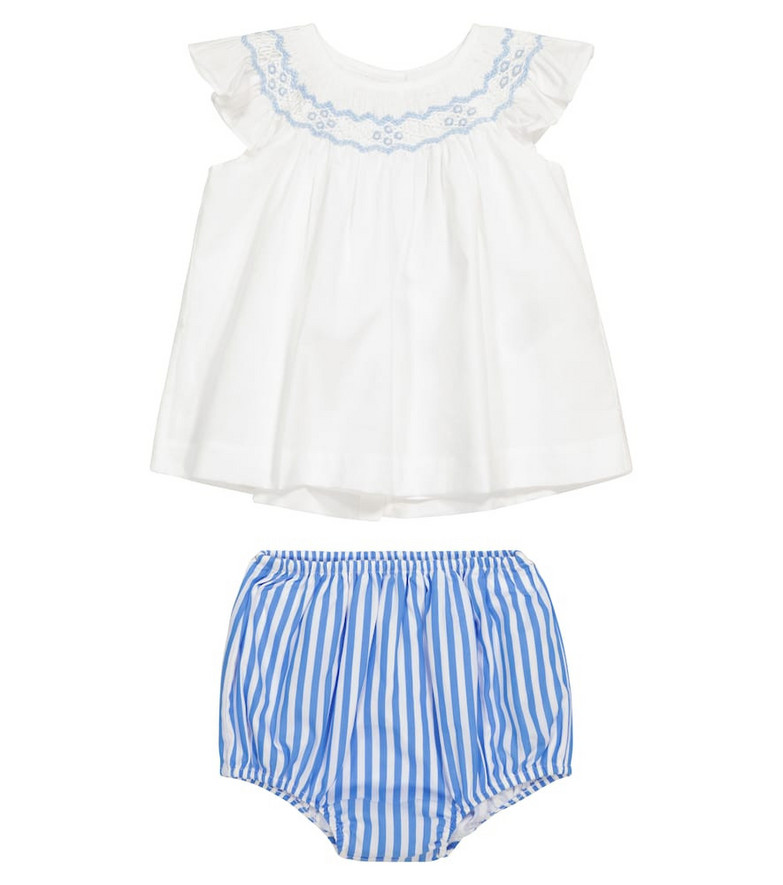 Polo Ralph Lauren Kids Baby cotton dress and bloomers set in blue