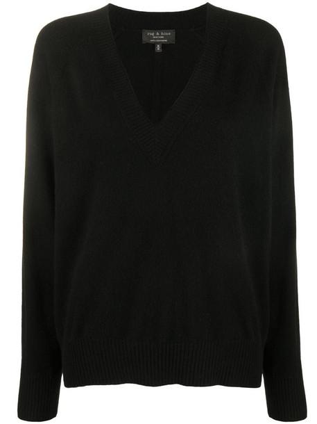 Rag & Bone v-neck cashmere jumper in black