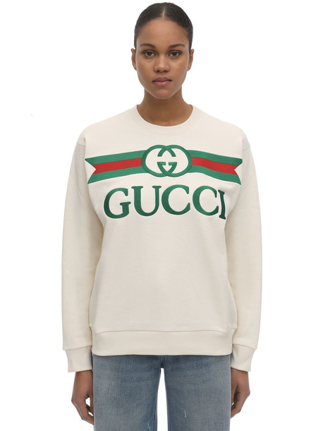 GUCCI Embroidered Logo Crewneck Sweatshirt in white