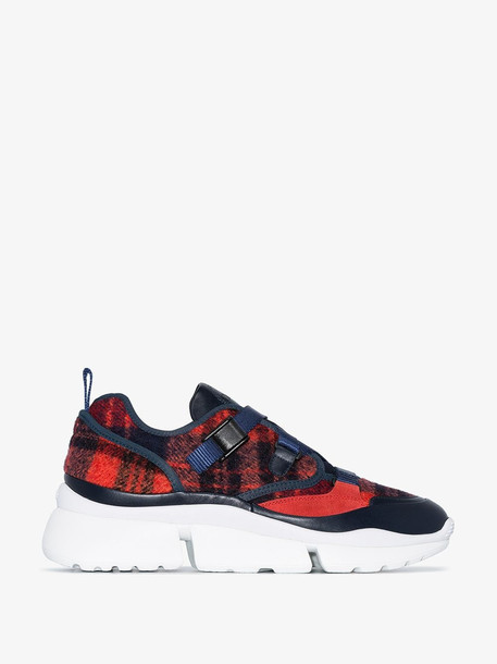 Chloé Chloé Red and blue Sonnie checked sneakers