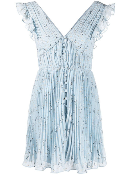 Self-Portrait floral pleated dress - Blue
