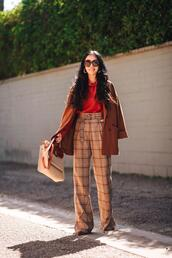 hallie daily,blogger,sweater,jacket,pants,blouse,bag,sunglasses,jewels,shoes,fall outfits,rust coat,rust,plaid pants,high waisted pants