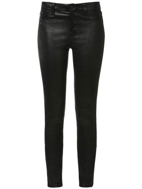 J BRAND Mid Rise Skinny Leather Pants in black