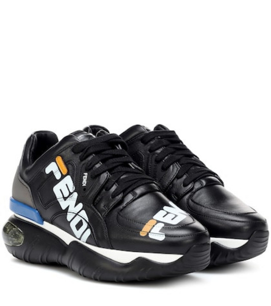 FENDI MANIA leather sneakers in black