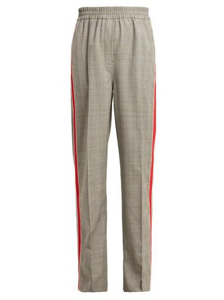Calvin Klein 205w39nyc - Side Stripe Straight Leg Checked Wool Trousers - Womens - Grey Multi