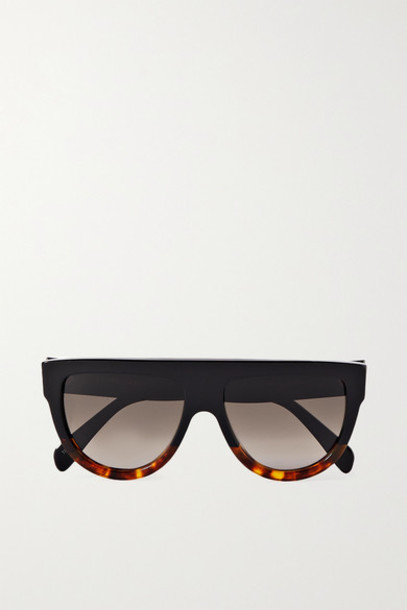 Celine - Oversized Cat-eye Tortoiseshell Acetate Sunglasses - Black