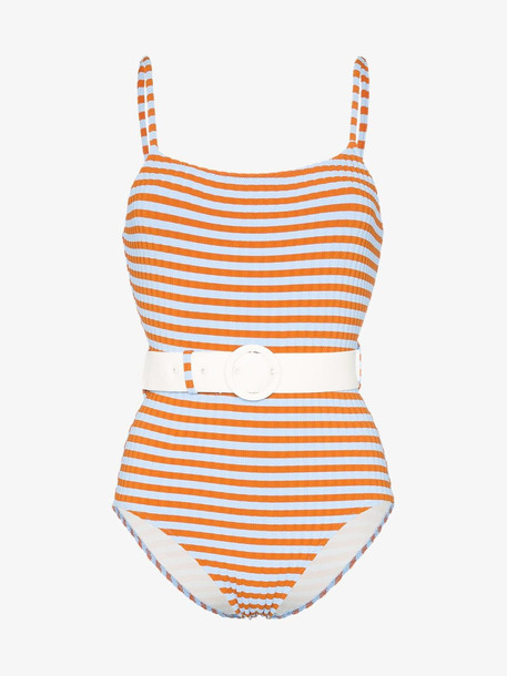 Solid And Striped Solid & Striped striped belted swimsuit