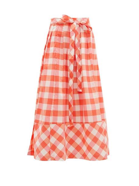 Thierry Colson - Java Gingham Midi Skirt - Womens - Pink Multi