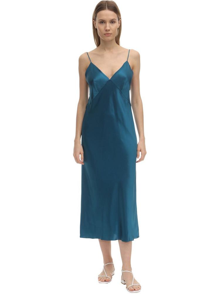 OLIVIA VON HALLE Issa Silk Slip Dress in blue