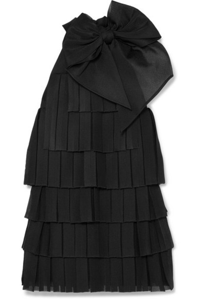 Balmain - Bow-embellished Pleated Knitted Mini Dress - Black