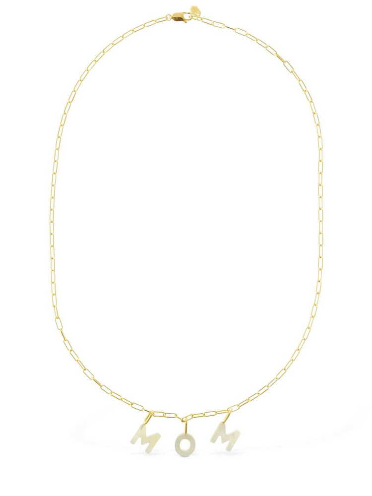 MARIA BLACK Mom Lettering Pearl Necklace in gold
