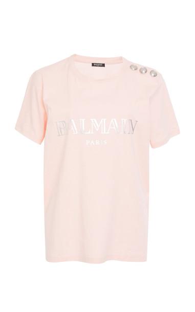 Balmain Button-Embellished Printed Cotton-Jersey T-Shirt in pink