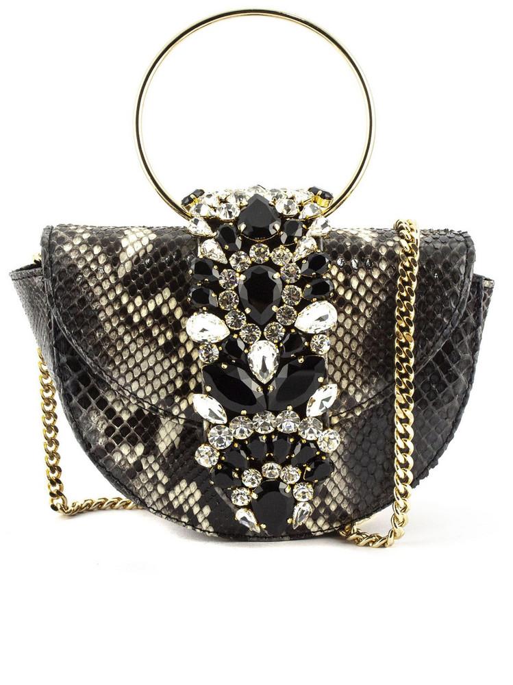 Gedebe Brigitte Python Halfmoon Shoulder Bag in nero