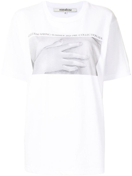 Kimhekim chest print T-shirt in white