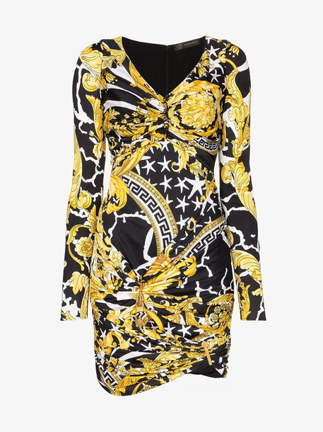 Versace baroque print ruched mini dress