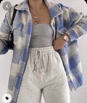 coat,knit plaid flannel